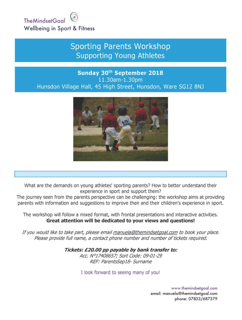 Sporting Parents Workshop 30-9-18